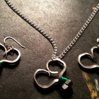 Purple wire wrapped horseshoe nail heart necklace and earring sets jewelry with silver chain