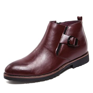 Mens Genuine Split Leather Buckle Strap Side Zipper Ankle Boots