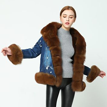 OFTBUY brand parka 2017 denim parka real fur coat winter jacket women real natural fox fur coat thick warm fur parkas etachable