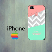 Mint and Coral Chevron Glittery iPhone Case - iPhone 4 Case or iPhone 5 Case - Geometric iPhone Case - (NOT ACTUAL GLITTER)