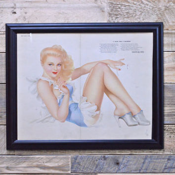 Patriotic Pinup Girl Art, V Mail for a Soldier, Original Varga For Esquire, Vintage Vargas Girl