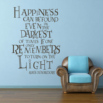 Harry Potter Decal Dumbledore Quote - Happiness can be found - Typographic Words Inspirational Art Poster Wall Art(0654)