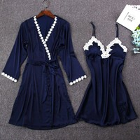 Roselyn Silky Robe and Night Gown Set