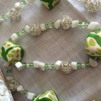 Polymer clay summer spring lime set necklace earrings bracelet set hand made beaded set filigree beads setexcellent gift Easter Mother's Day