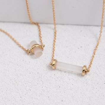 Opaque Stone Gold Chain Necklace for  Layering and Gifting, LUVINMARK