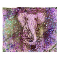 "Marianna Tankelevich ""Pink Dust Magic"" Elephant Sparkle Fleece Throw Blanket"