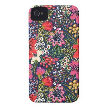 Vintage Bright Floral Pattern iPhone 4 Case