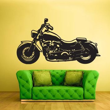 Wall Decal Vinyl Decal Sticker Motorcycle Moto Bike Retro Chopper  z602