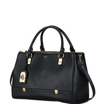 Lauren Ralph Lauren Morrison Triple Zip Leather Satchel
