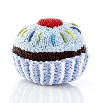 Blue Cupcake Fair Trade Knitted Baby Rattle