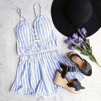 reverse - striped denim blue & white two piece set