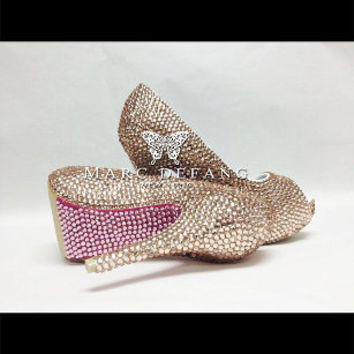 Champagne Heels with Rose Crystal Bottom by MDNY Heels