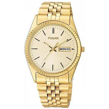 Pulsar Mens Traditional Watch - Gold Dial - Gold Tone Stainless Steel Case