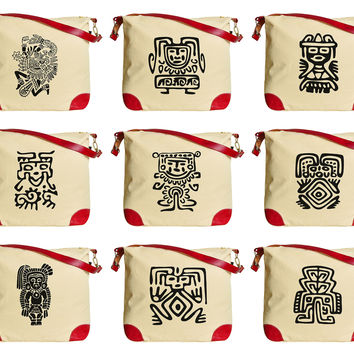 Set of Mexican Symbols Printed Canvas Leather Trap Tote Shoulder Bag WAS_33