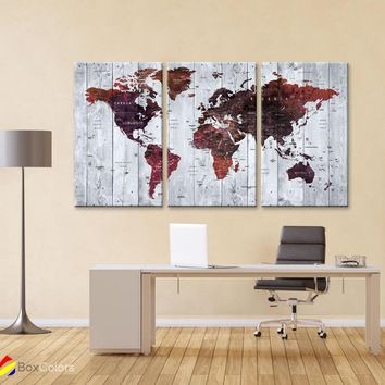 "LARGE 30""x 60"" 3panels 30x20 Ea Art Canvas Print Watercolor Brown Map World Push Pin Travel M1823"