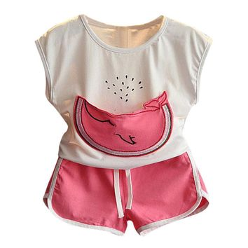 Casual sports girls set summer Pockets Kids Baby Girl Summer Outfit Clothes Print T-shirt+Shorts Set children clothes sets