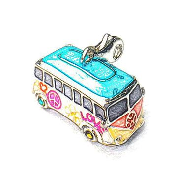 Small Hippie Peace Bus Charms Fits Bag Bracelets Necklaces & Thomas-Style Jewelry