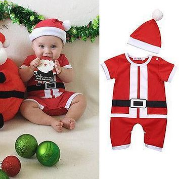 2 Pcs Newborn Infant Baby Girls Boy Santa Outfits Babies Boys Girl Christmas Jumpsuit Romper+Hat Xmas Set Clothing