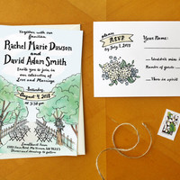 Love on Country Lane: Illustrated Rustic Tree Wedding Invitation Suite / Deposit