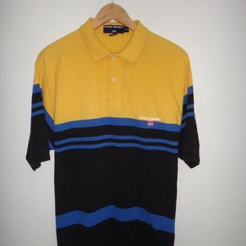 New Year Sale Vintage Polo Sport Ralph Lauren Multi Color Striped Spell Out