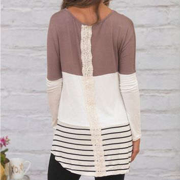 Back Lace Long Sleeve Tunic Blouse