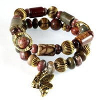 Red Creek Jasper Bracelet Set, Antique Gold, Stretch Bracelets