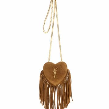 Mini Love Heart Chain fringed suede shoulder bag
