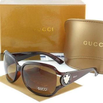 Gucci Stylish Women Men Leisure Sun Shades Eyeglasses Glasses Brown Frame I