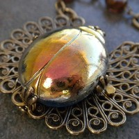 Egyptian Revival Scarab Beetle Necklace by Serrelynda on Etsy