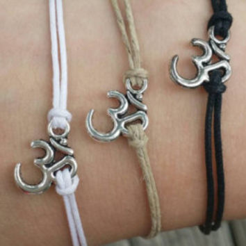 ONE Om/Aum Bracelet Choice of Black, White or Natural Hemp. Adjustable  Silver Charm Choker/Necklace Hippie/Boho/Crystals/Reiki/Summer
