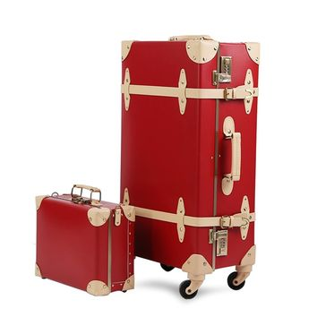 2019 Vintage Suitcase Carry On Luggage Hardside Rolling Spinner Retro Style for Travel trunk