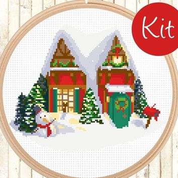 Christmas House Cross Stitch Kit, Winter Wonderland Scene