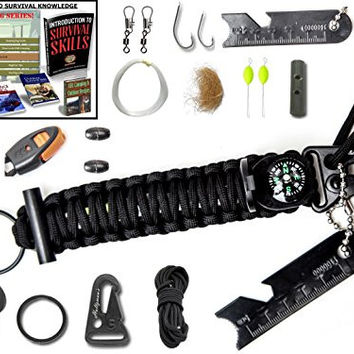The #1 BEST Paracord keychain emergency kit : The perfect military survival kit Grenade with wilderness fishing kit, Flint fire starter tinder compass snap hooks eBooks lifetime money back guarantee