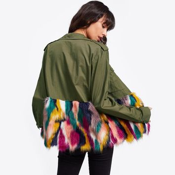 Colorful Faux Fur Trim Utility Jacket Autumn Jacket Women Army Green Lapel Single Breasted Color Block Jacket