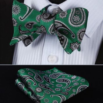 BP703G Green Black Paisley 100%Silk Jacquard Men Butterfly Self Bow Tie BowTie Pocket Square Handkerchief Hanky Suit Set
