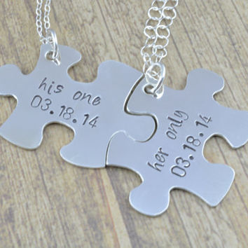 Personalized Sterling Silver Hand Cut Puzzle Piece His and Her Necklace Set, Hand Stamped, Personalzied Jewelry by Miss Ashley Jewelry
