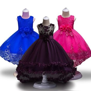 High Quality Lace vestido Girls Sleeveless Princess Children flower girl dress For Wedding 2-12 Years Girls Trailing Party Prom