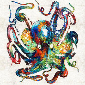Colorful Octopus Art PRINT from Painting Sea Beach Ocean Creature Theme Underwater Tropical Art CANVAS Ready To Hang Large Fun Funny Animal