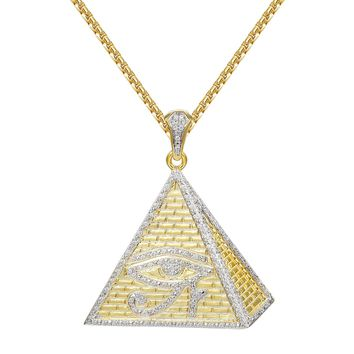 "Egyptian Pyramid Evil Eye 14k Gold Finish Pendant 24"" Chain"