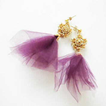 Purple Gold Crochet Lace EarringsDangling Burgundy by sukran