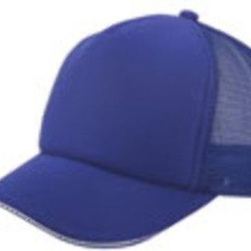 5 Panel Mesh w- Sandwich Bill Cap - Royal - CASE OF 144