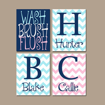 Shared BATHROOM Wall Art, Canvas or Prints, 3 Siblings, Brothers Sisters Bathroom, Pink Navy Blue, Chevron Bathroom Rules,Set of 4