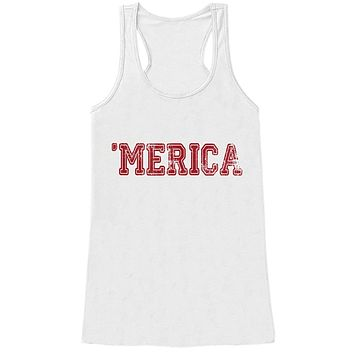 Custom Party Shop Women's Merica 4th of July White Tank Top