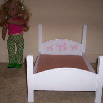 handcrafted American Girl doll size bed white with pink butterfly design