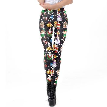 Santa Claus Snowman Print Women Skinny Christmas Party Leggings