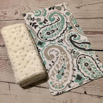 Baby Burp Cloths,Mint Green,Gray Paisley Print,Handmade Burp Cloths,Baby Gift,Minky Burp Cloths,Burp Rags,Baby Burping,Baby Style