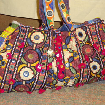vintage banjara mirror work textile bag and handbags