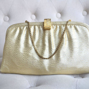 1950s Gold Lame Evening Bag Made by After Five