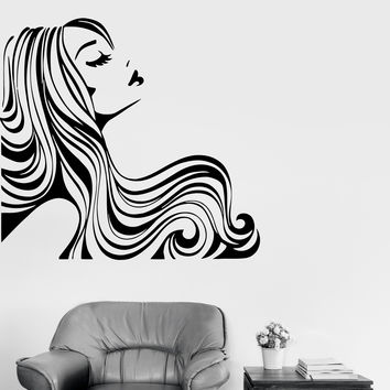 Wall Decal Woman With Sexy Hair Vinyl Sticker z3261