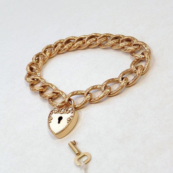 F&B Victorian PADLOCK Bracelet HEART Lock KEY Charm Fancy Scrollwork Curb Chain, Rare Antique Womens Jewelry c.1890's, Gift for Her